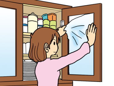 食器棚の扉のガラスの飛散防止